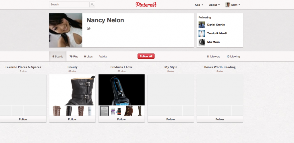 Nancy Nelon Pinterest Profile