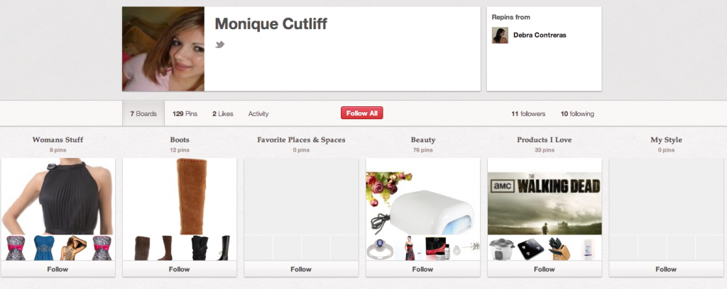 Pinterest Spam Account