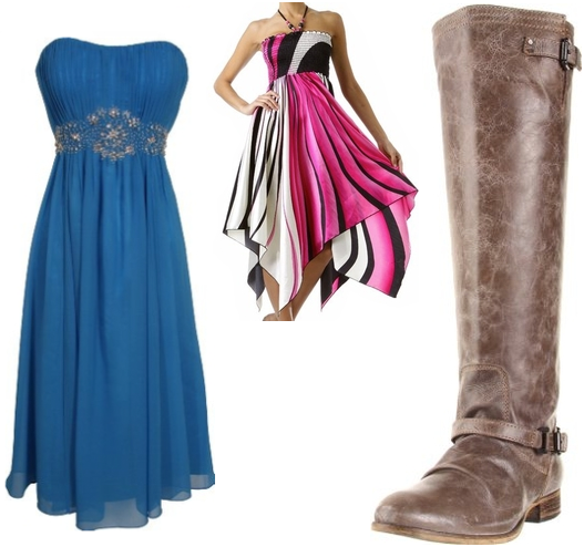 Two dresses and a fashionable boot