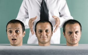 Man choosing from three different heads
