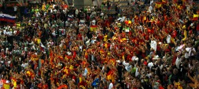 Spanish sports fans in stadium