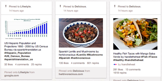 Pinterest pins about US Hispanic population, Spanish lentils and fish tacos