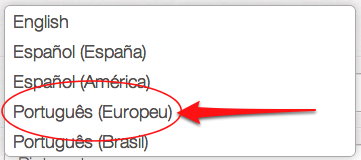 Pinterest European Portuguese Language Option