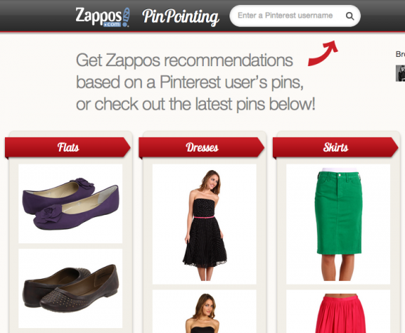 Zappos PinPointing screenshot
